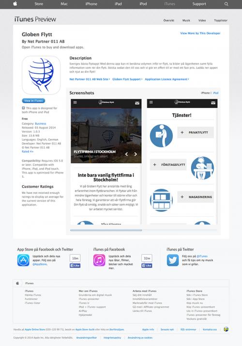 globenflytt på app story - referenser webbyrå stockholm