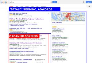 Google organisk sök och adwords annons